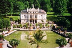 Linderhof Palace - the beautiful palace in the mountain of Bavaria, Germany