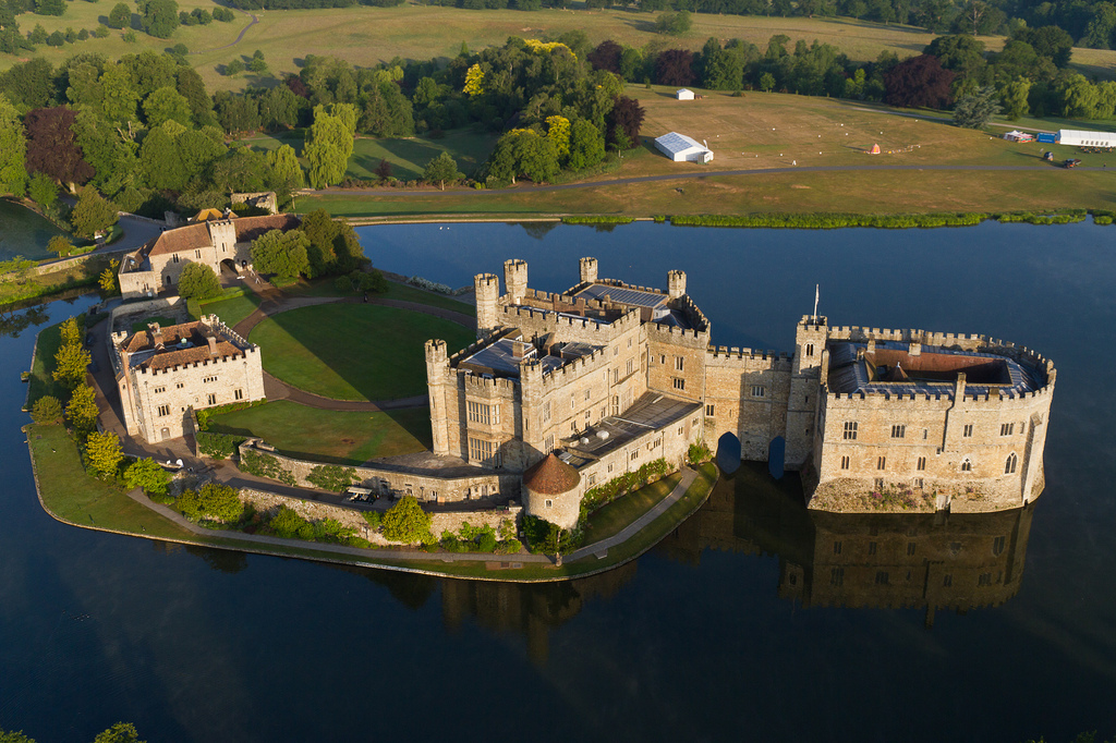 Leeds Castle from the air, England, United Kingdom