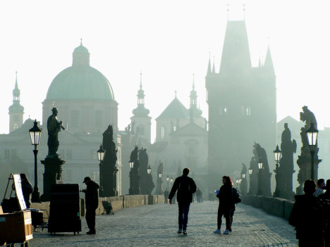 Early morning on the Charles Bridge, Prague, The Czech Republic
