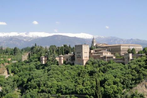 Alhambra and Sierra Nevada mountain, Spain