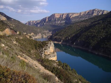 Camarasa reservoir in the Noguera Pallaresa river, Spain